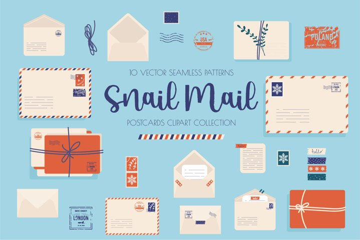 Postcards stamps vector set