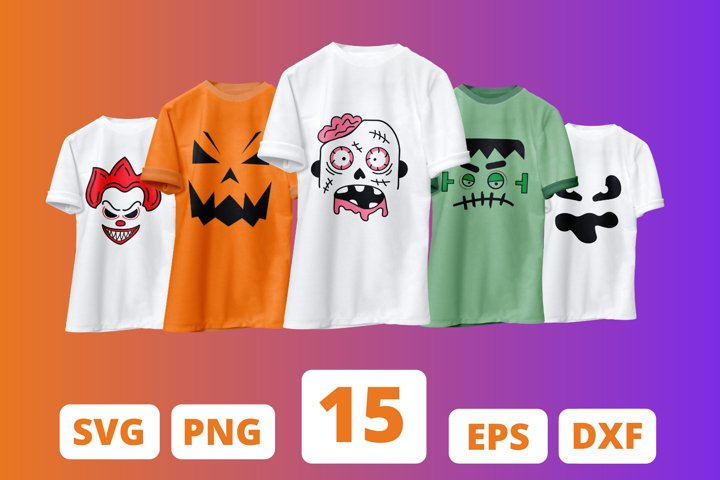 15 HALLOWEEN FACES SVG BUNDLE, halloween cut file, pumpkin