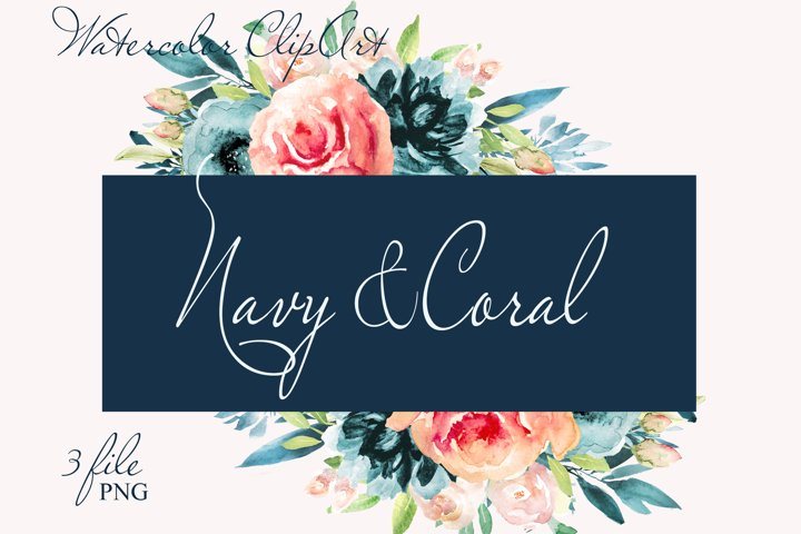 Navy Flowers clipart Watercolor Coral floral graphics