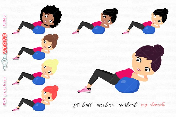 Woman doing fit ball aerobics workout png elements