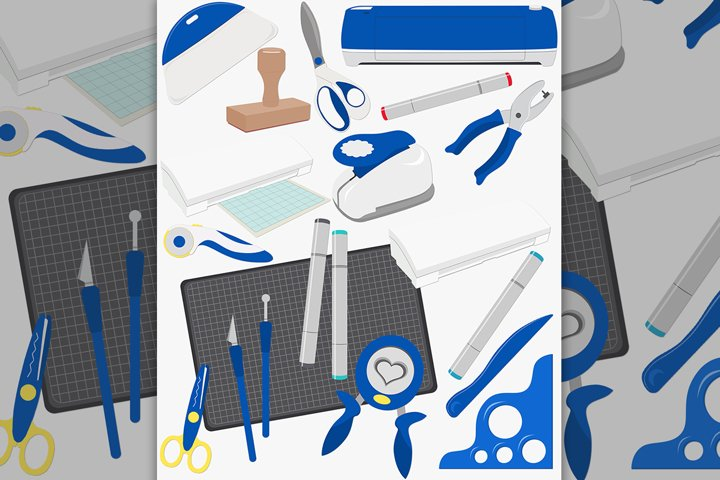 Cutting machine tools clipart set