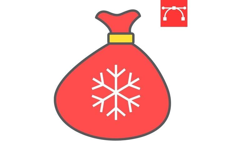 Santa bag color line icon