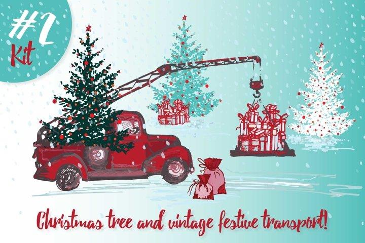 Set of Hand drawn sketch Christmas tree and vintage festive