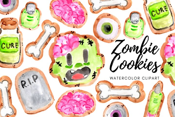 Watercolor Halloween Zombie Cookie clipart