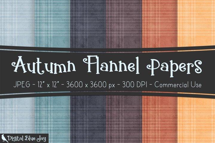 Digital Scrapbook Paper Backgrounds - Autumn Flannel