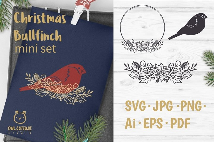 Christmas Bullfinch SVG mini set, Christmas Bird Decor Cut F