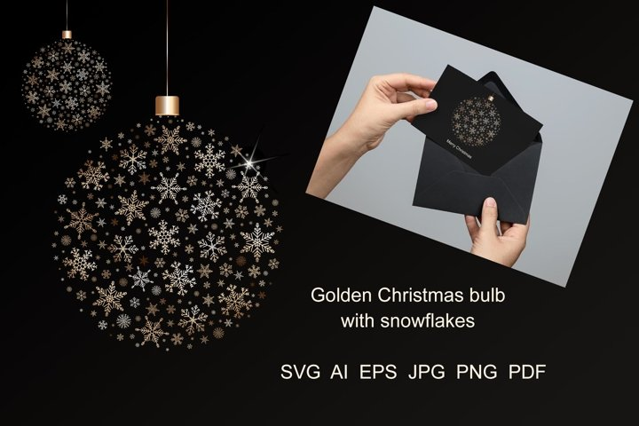 Christmas bulb with golden snowflakes.