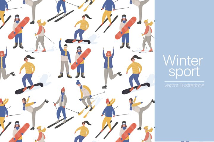 Winter sport people characters