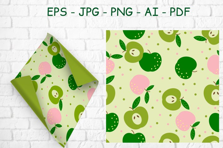 Seamless pattern with fruit pink and green apples