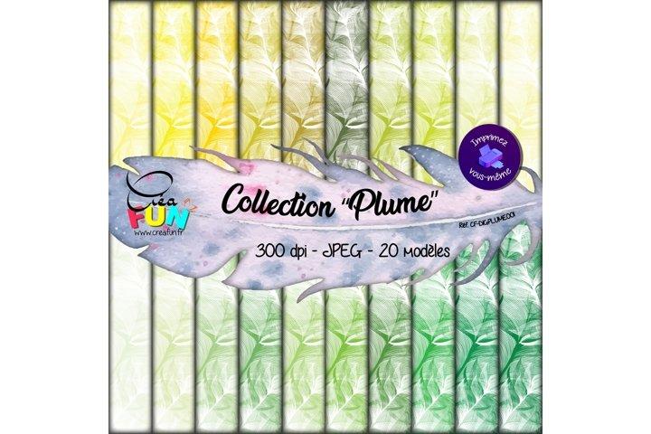 Lot de 20 papiers numériques - Collection Plume 01