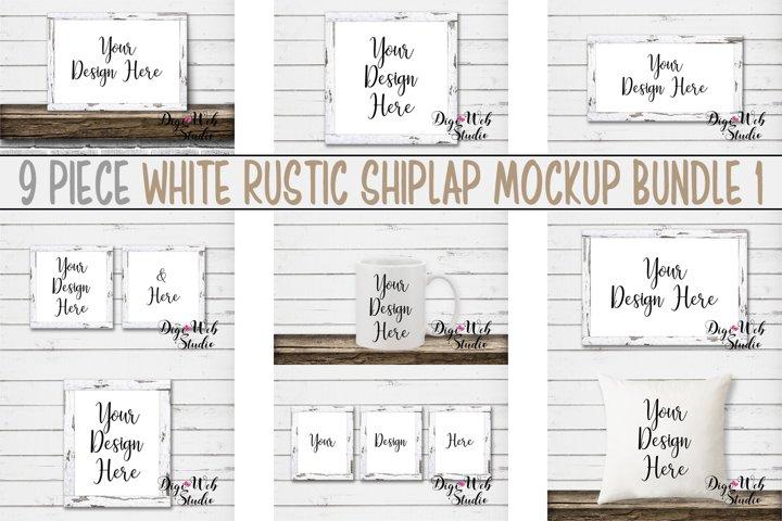 Mockup Bundle -White Rustic Shiplap Wood Signs, Pillow & Mug