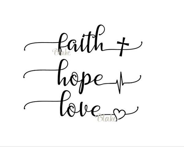Faith Hope Love svg CUT file for silhouette cameo cricut Christian faith t-shirt heartbeat cross heart tshirt svg Greatest of these is love