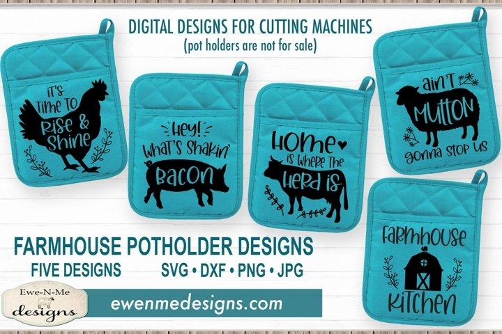 Farmhouse - Farm Animal Potholder Bundle - SVG