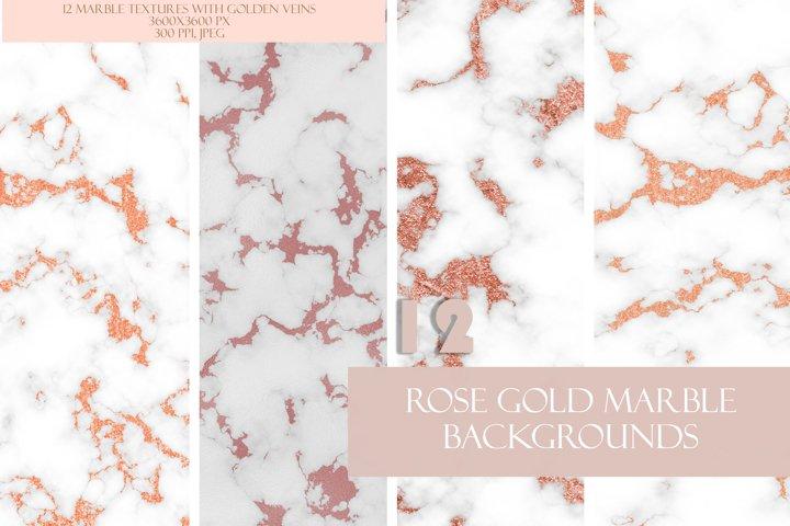 Feminine Rose Gold Glitter Marble Set