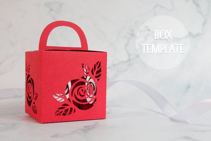 Rose favor box template, Wedding favor boxes
