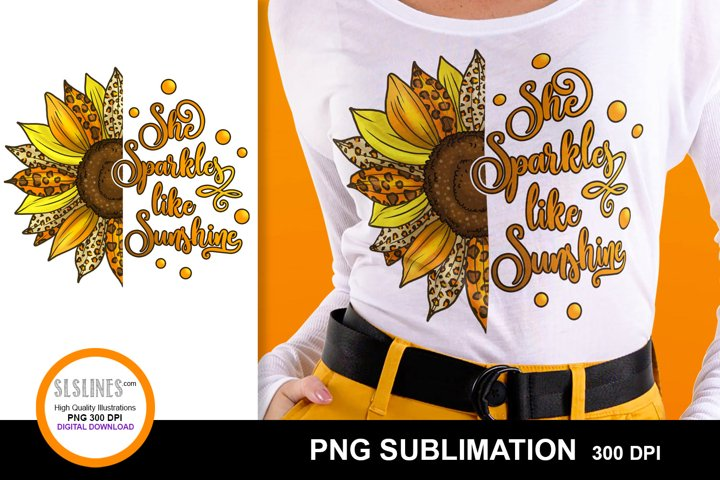 She Sparkles Sunflower Sublimation with Leopard Print