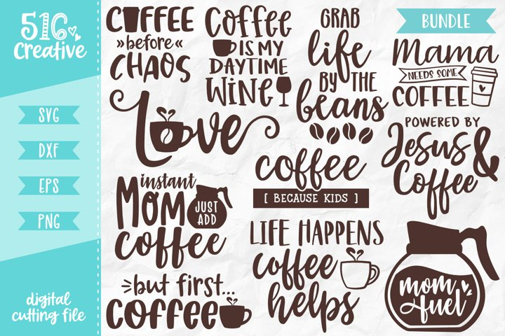 Coffee Lover Bundle 11 Designs Volume 3 SVG DXF EPS PNG