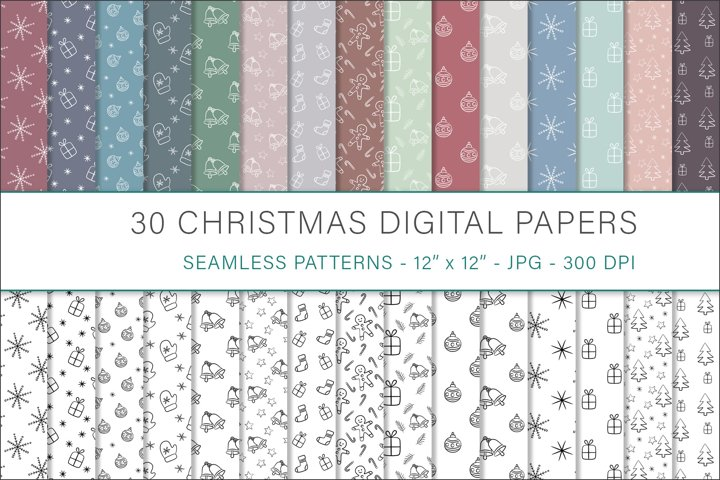 Christmas hand drawn digital papers - 30 Seamless Designs