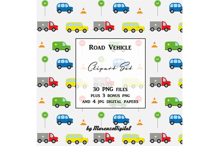 Road Vehicle Clipart Bundle