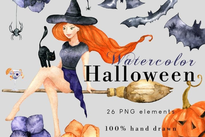 Halloween PNG Clipart Set with Witch, Hats, Pumpkins