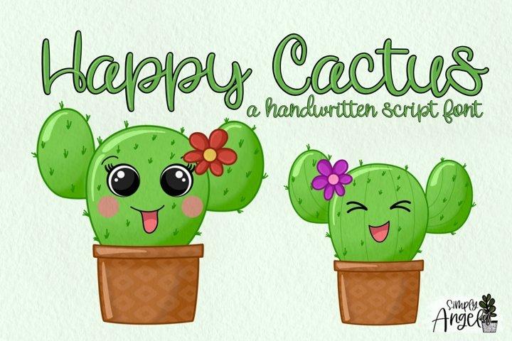 Happy Cactus - a cute handwritten script font