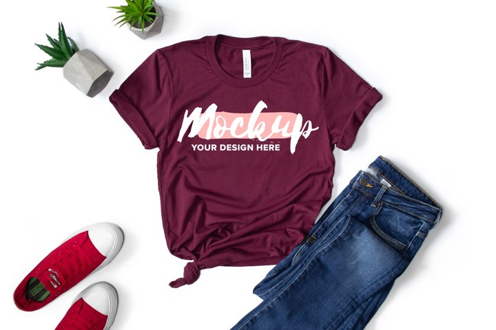 Bella Canvas 3001 Maroon Flat Lay T-shirt Mockup example