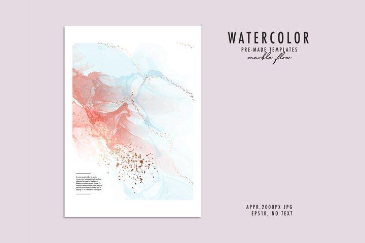 Watercolor paint splatter ink blots abstract design with spl