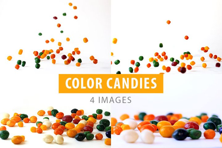 Different color round candies.