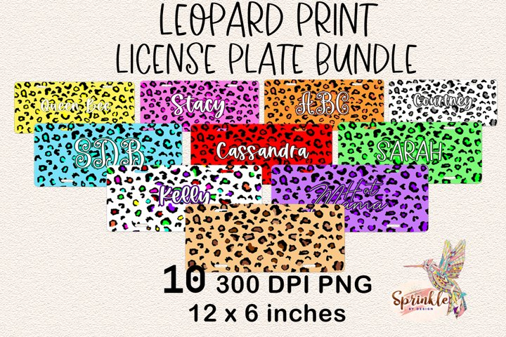 Leopard Print License Plate Sublimation Bundle