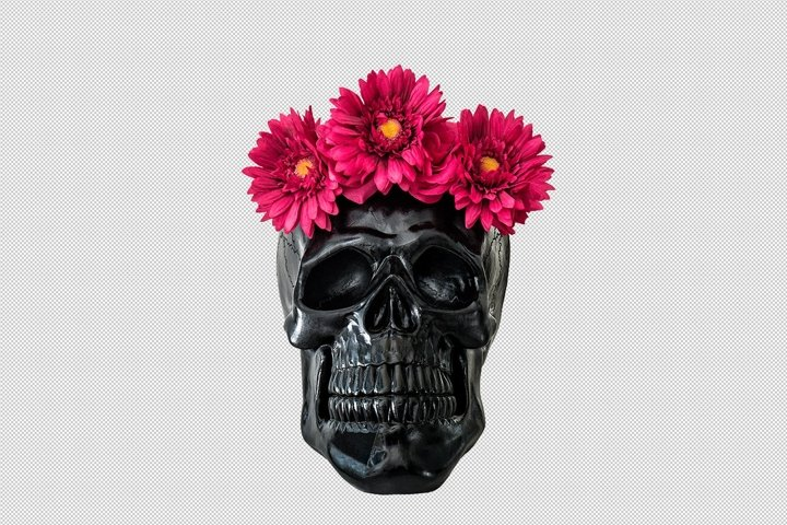 Black skull pink flowers decoration isolated PNG