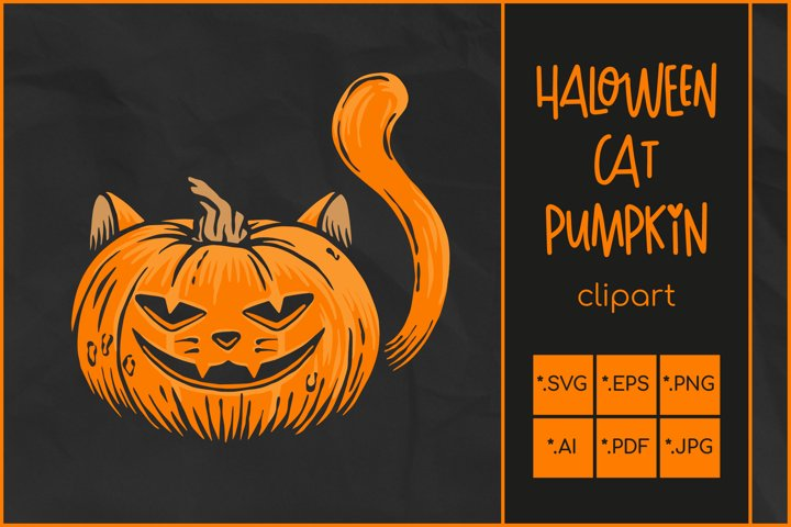 Halloween SVG, Cat Pumpkin SVG, Jack OLantern Cat face