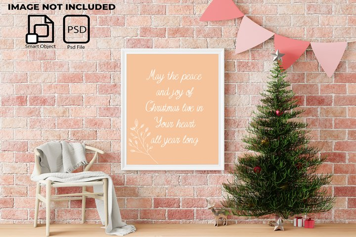 Interior Christmas concept in a frame mockup