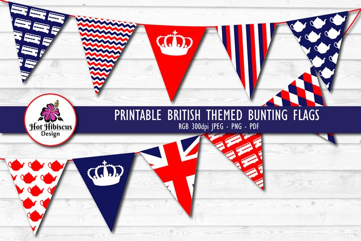 Printable British Themed Bunting Flags
