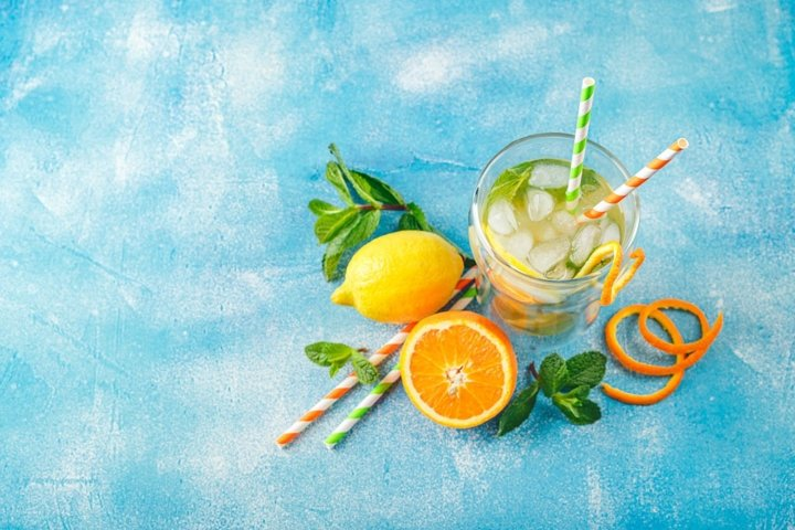 Refreshing cocktails with mint with lemon, orange, mint