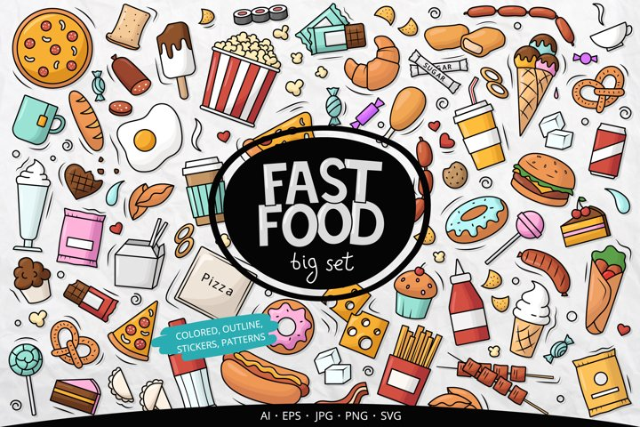Doodle Fast Food Big set Clipart