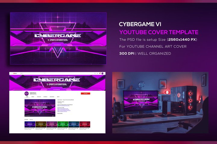 CyberGame V1 Youtube Channel Art Photoshop Template
