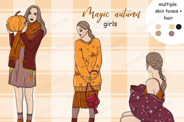 Magic Autumn GIRLS Fall Spice Party Paper Graphics - PNG