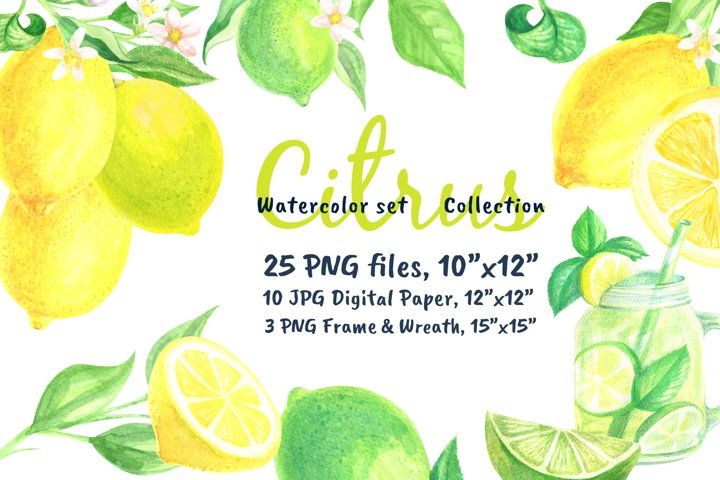 Watercolor set Lemonade Citrus Graphics
