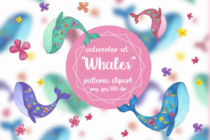 Watercolor set  Whales sea patterns and cliparts