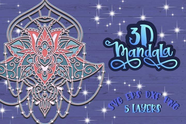 3D Mandala Layered svg Papercut design Zentangle svg