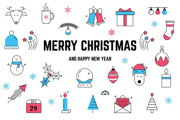 Christmas Line icons and patterns