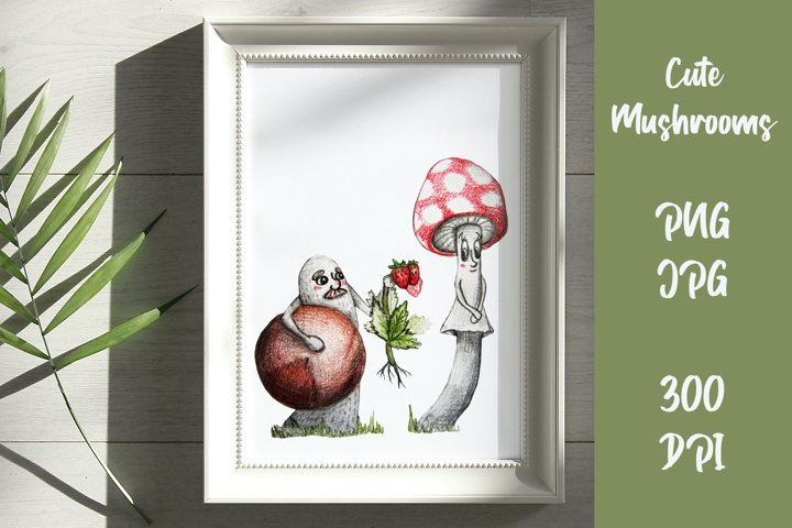 Cute mushrooms. Valentine days clipart. PNG, JPG