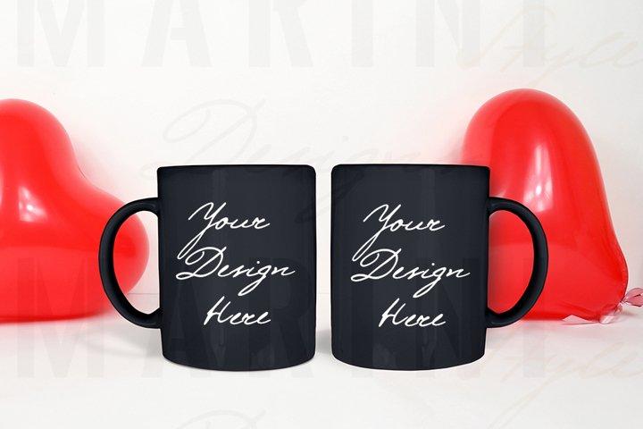 Valentines day two mugs Mockup, 2 Black mugs mockup 1097