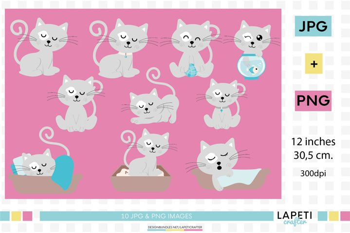 Gray cats clipart set, 10 instant download cat png
