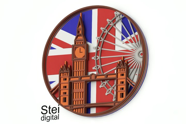 3d layered London mandala SVG, DXF cut files, Cricut svg.