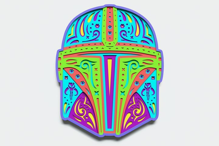 Multilayer Helmet Mandala, Vector file for cutting