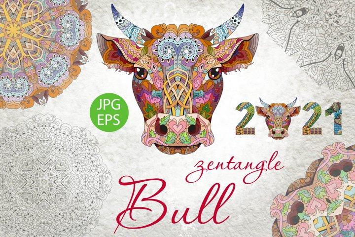 Zentangle bull head