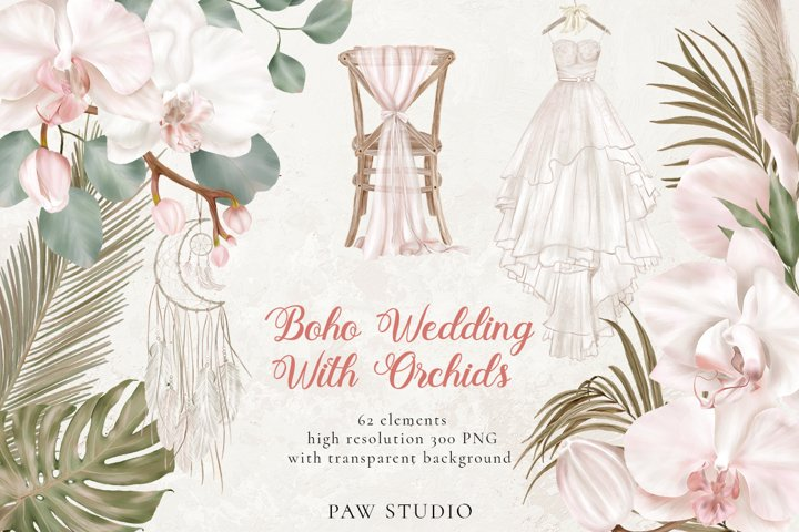 Orchids Boho Wedding Decor Flowers Dry Leaves Clipart