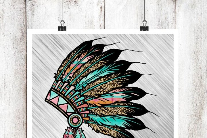 Leopard and Watercolor Headdress Digital Graphic