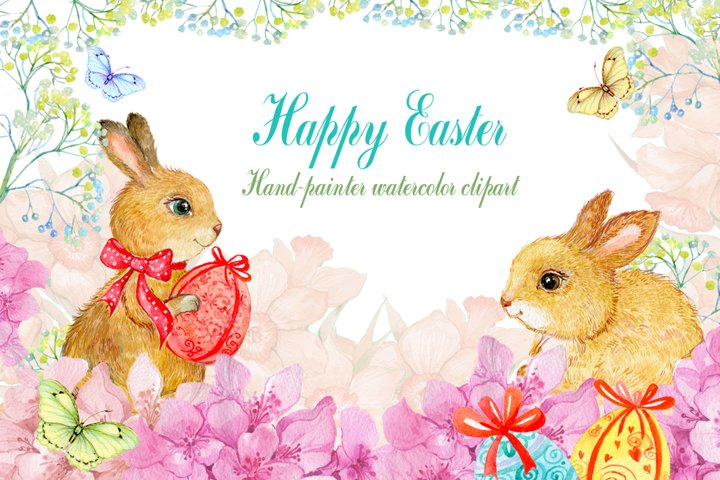watercolor clipart/ Easter bunnies